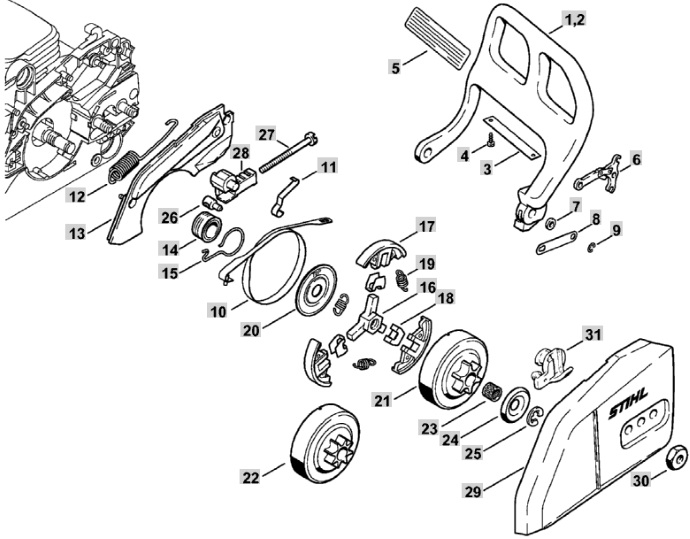 Stihl 290 Chainsaw Parts Diagram Further Stihl Chainsaw Parts Diagram